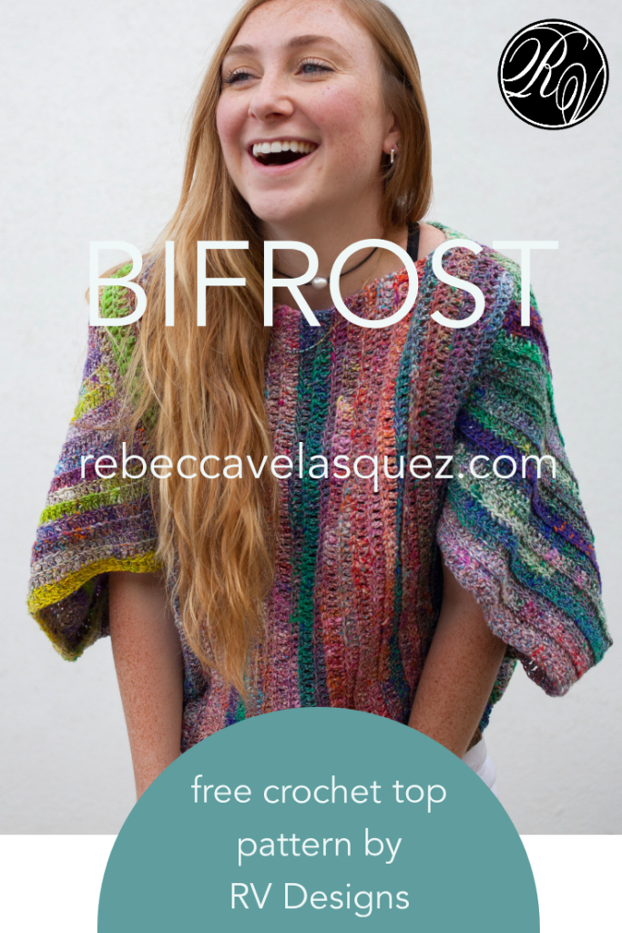 Lady wearing crochet top with multicolors, BiFrost free pattern