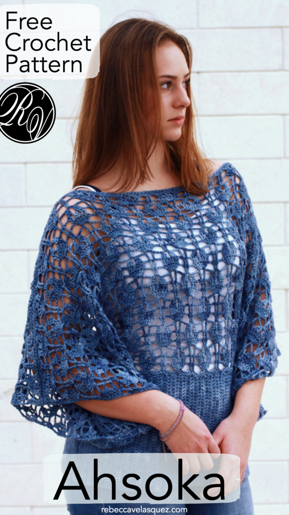 Great layering piece for year-round wear, this crochet top is fun to make with an easy, textured lace. Free pattern ~Ahsoka~ available at RebeccaVelasquez.com