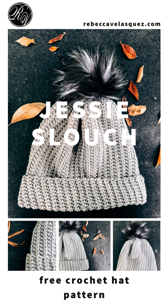 Advertising graphic with multiple versions of grey hat on black granite surface. Text reads: rebeccavelasquez.com Jessie Slouch free crochet hat patttern.