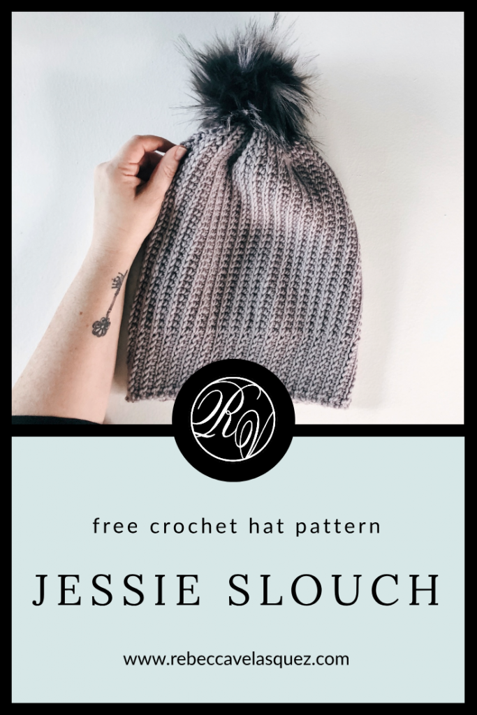 Yes, it's crochet! Get that knit rib look in crochet with the Jessie Slouch Beanie. This FREE crochet pattern can be slouchy or snug, child to adult. rebeccavelasquez.com #JessieSlouch #freecrochethatpattern #crochetslouch #crochethatpattern #RVdesigns