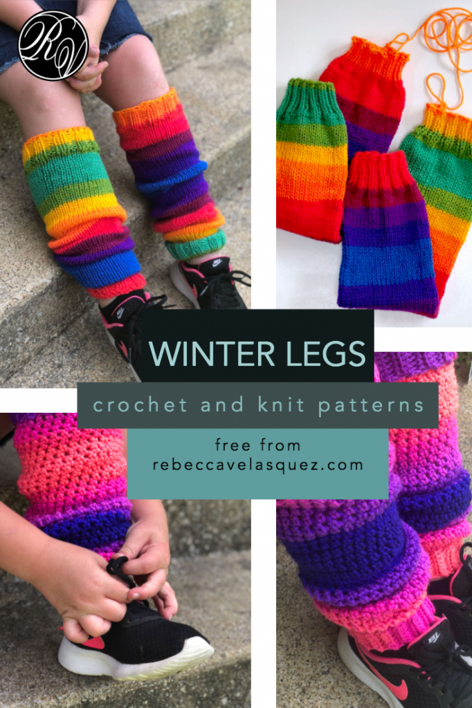 Leg warmers crocheted and knitted
